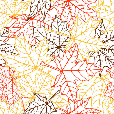 Seamless background of autumn leaves silhouettes, vector illustration. Vector