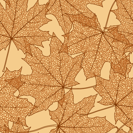 withering: Seamless background of autumn maple leaves silhouettes, vector illustration.