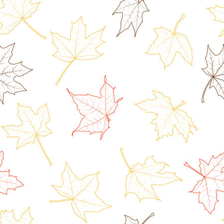 withering: Seamless background of autumn leaves silhouettes, vector illustration.