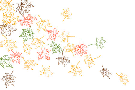 Maple autumn falling leaves silhouettes, vector illustration. Vector