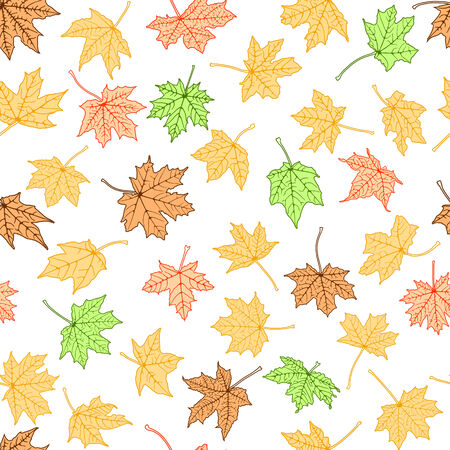 withering: Seamless background of autumn color leaves, vector illustration.