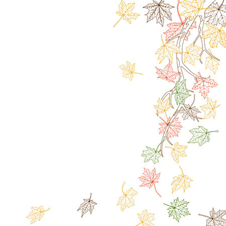 withering: Branch with autumn maple leaves silhouettes, vector illustration.