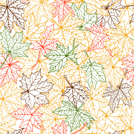 withering: Seamless background of color autumn leaves silhouettes, vector illustration.