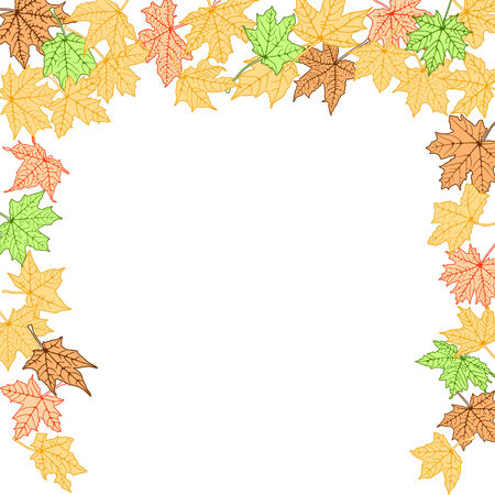 Autumn color leaves falling border, vector illustration. Vector