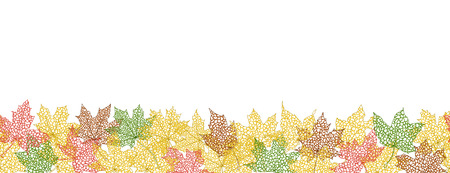 Horizontal seamless pattern of autumn leaves silhouettes, vector illustration. Vector