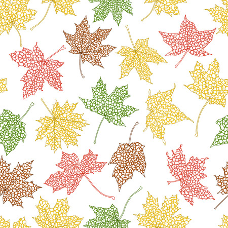 Seamless background of autumn leaves silhouettes Vector