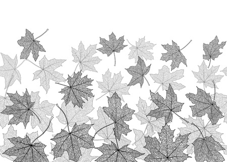 withering: Horizontal seamless pattern of  dry autumn maple leaves silhouettes, vector illustration. Illustration