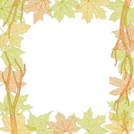 withering: Frame of dry autumn maple leaves silhouettes falling, vector illustration.