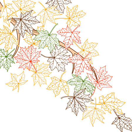 Branch with autumn maple leaves silhouettes, vector illustration. Vector