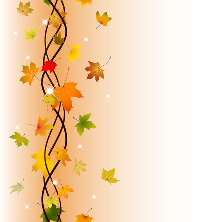 withering: Vertical seamless pattern of branch autumn maple leaves illustration. Illustration