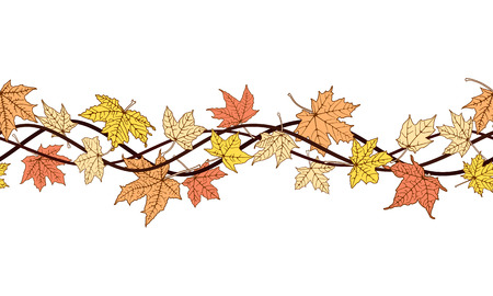 withering: Horizontal seamless pattern of branch autumn color leaves, vector illustration. Illustration
