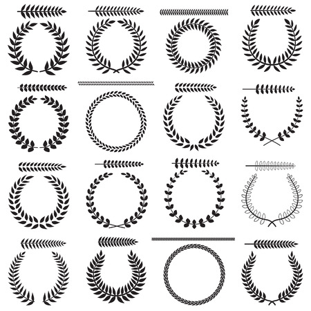 Set of silhouettes of laurel wreaths and branches, vector illustration. Vector
