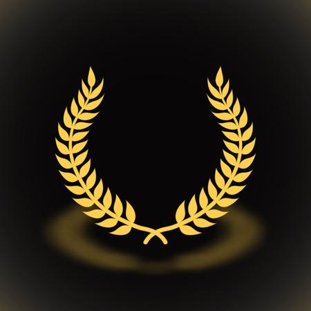 Gold award laurel wreath on black background. Illustration