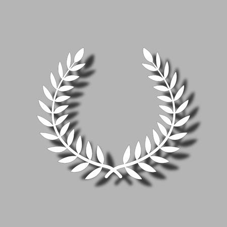 laurel branch: Vector laurel wreath on grey background.