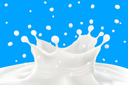 fresh milk: Milk splash and ripples on blue background.