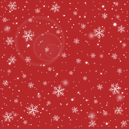star symbol: Abstract winter red background with various snowflakes.