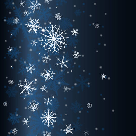 Seamless  pattern from snowflakes on dark blue background. Vector