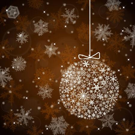 dark brown background: Christmas background with ball from snowflakes on dark  brown background.