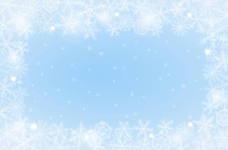 schneeflocke: Border von verschiedenen Schneeflocken auf hellem Hintergrund. Illustration