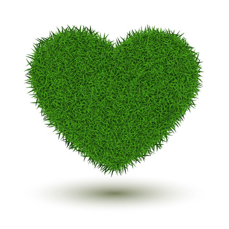 Grass heart isolated on white background. Illustration