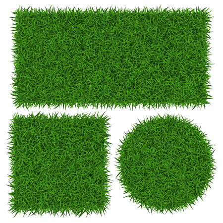 Green grass banners, vector illustration. Çizim