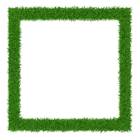 grass border: Square grass frame  with copy-space  on white background, vector illustration.