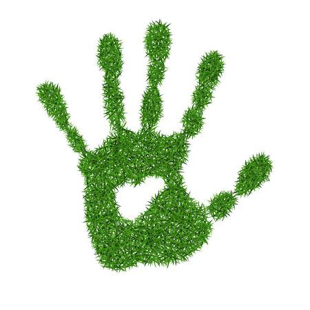 Groen gras afdruk van de menselijke hand, vector illustratie.