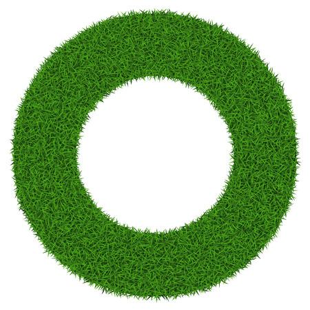 白い背景のベクトル図にコピー スペースを持つサークル草フレーム。