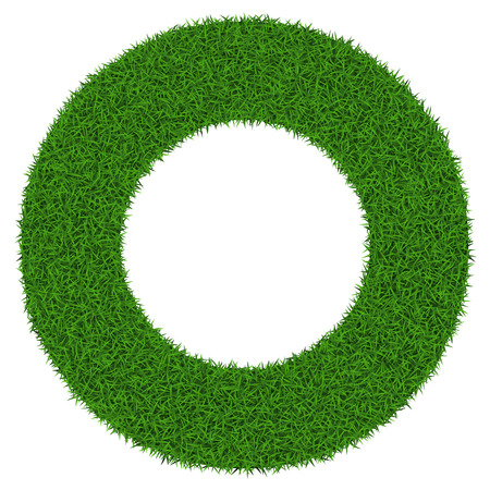 Circle grass frame with copy-space on white background, vector illustration.