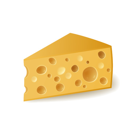 swiss cheese: Piece of cheese on white background, vector illustration. Illustration