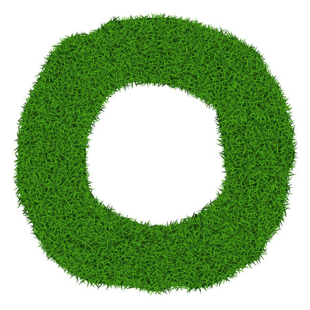 Rotund grass frame with copy-space on white background, vector illustration. Vector