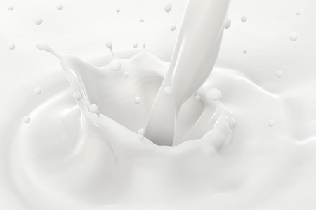 yoghurt: Pouring milk splash and drops with ripples, close-up view.