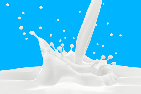milk drop: Splash of milk with pouring on blue background. Stock Photo