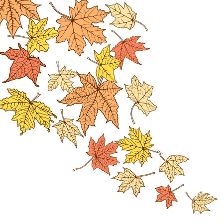 withering: Background from autumn color leaves, vector illustration.