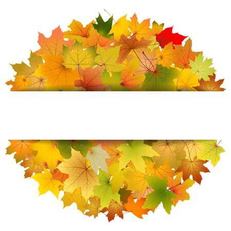 withering: Maple autumn leaves greeting card template, vector illustration.