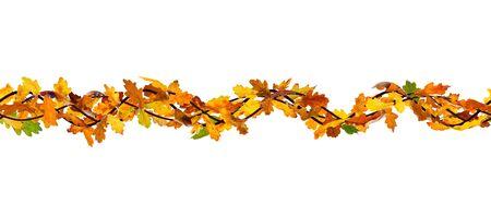 autumn leaves background: Horizontal seamless pattern of autumn oak leaves on white background. Stock Photo