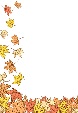 withering: Falling down autumn maple color leaves, vector illustration. Illustration