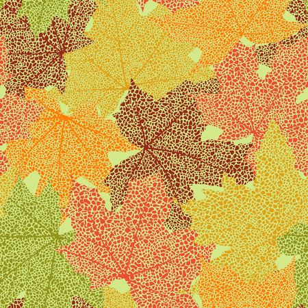 dry: Dry autumn maple leaves seamless background, vector illustration. Illustration