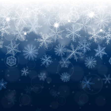 happy holidays: Abstract Christmas background with blurred various snowflakes. Illustration