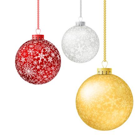flocon de neige: Jeu de boules de Noël réalistes, isolé sur fond blanc. Illustration