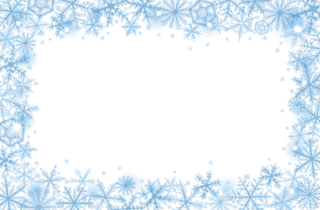 Abstract Christmas border background with blue snowflakes.