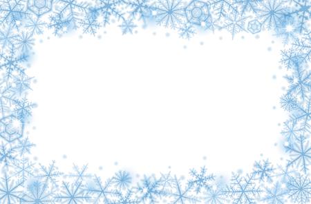 flocon de neige: Résumé de fond de la frontière de Noël avec des flocons de neige bleus. Illustration