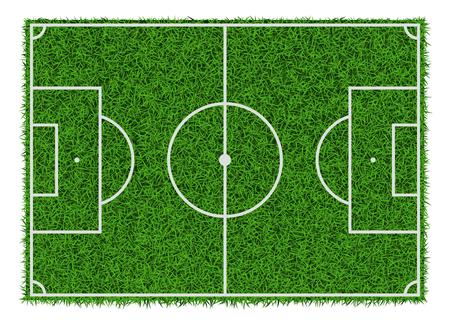Vista superior del campo de fútbol de hierba verde, ilustración vectorial. Ilustración de vector
