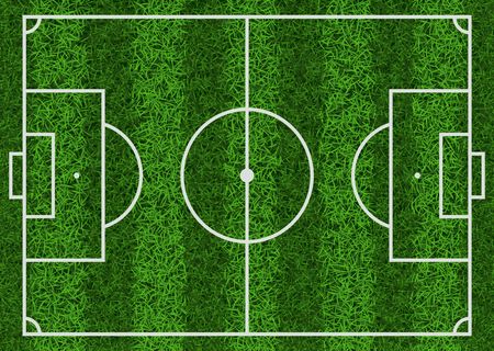 Top view of textured green grass striped soccer field, vector illustration. Illustration