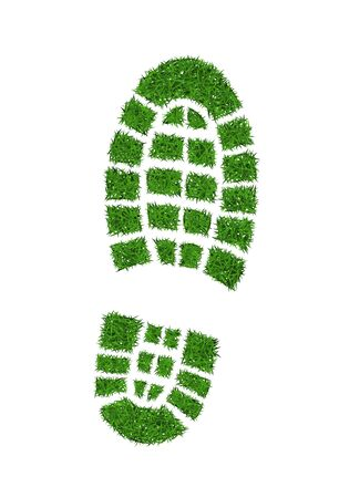 Green grass footprint boot, vector illustration. Illustration