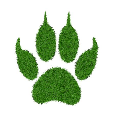 Animal green grass footprint, vector illustration. Illustration
