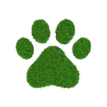 pat: Animal green grass footprint, vector illustration. Illustration