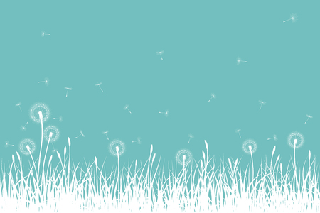 Grass silhouettes with dandelion flowers and seeds, vector illustration.