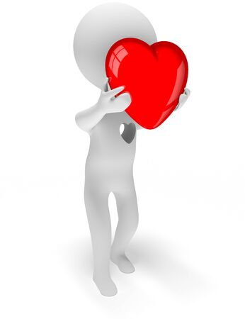 Abstract character giving off his heart which is taken out from the chest