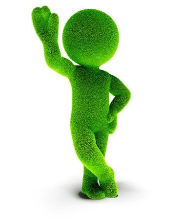 Man of green grass says hello Stock Photo